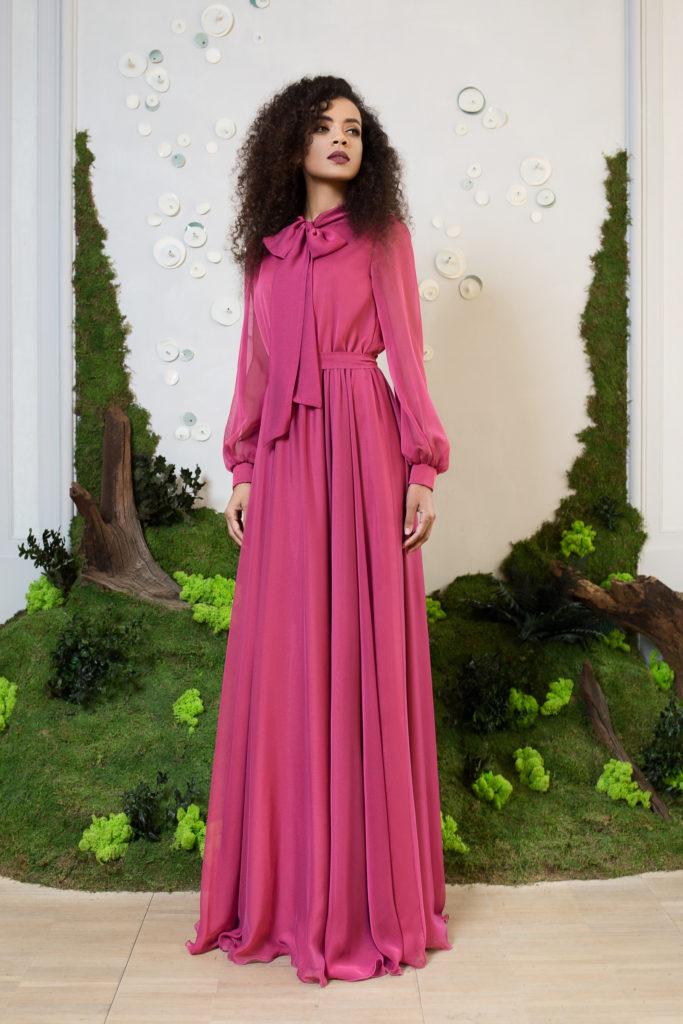 rochie lunga fuchsia