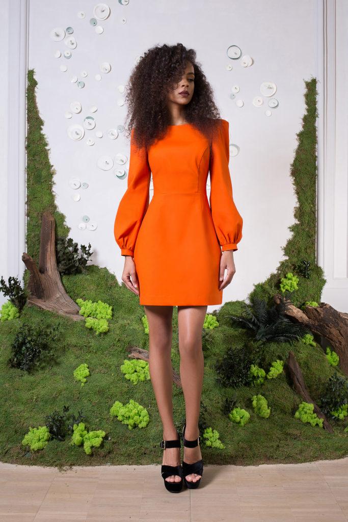 rochie portocalie cu maneci bufante