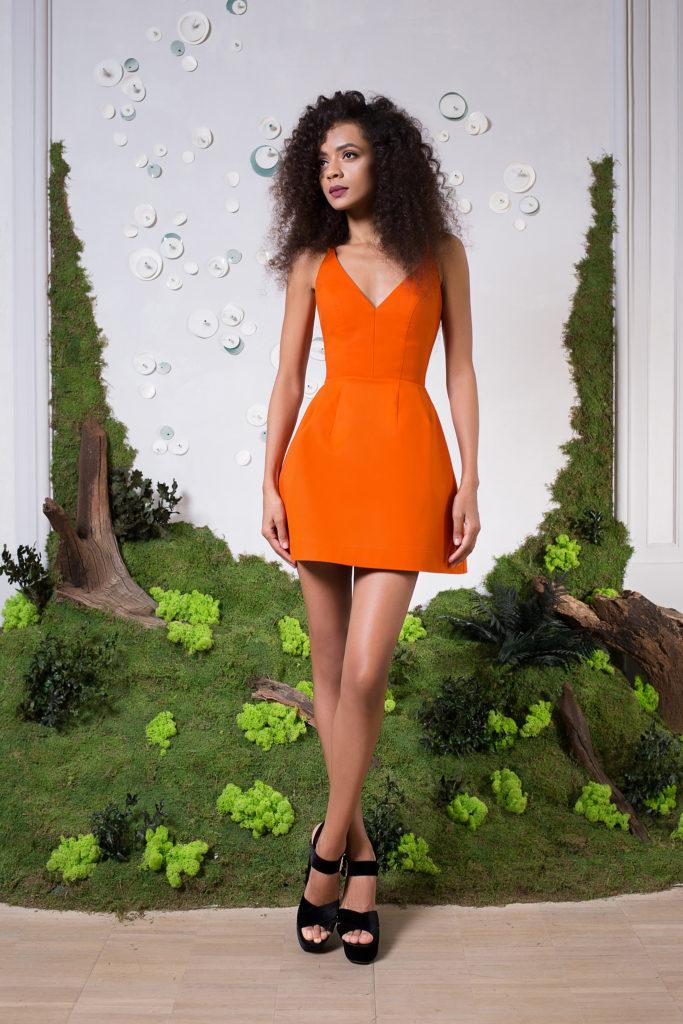 rochie scurta portocalie